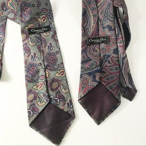 Bundle of 2 Christian Dior floral paisley ties